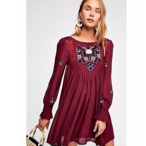 Free People Moya Embroidered Mini Dress in Plum